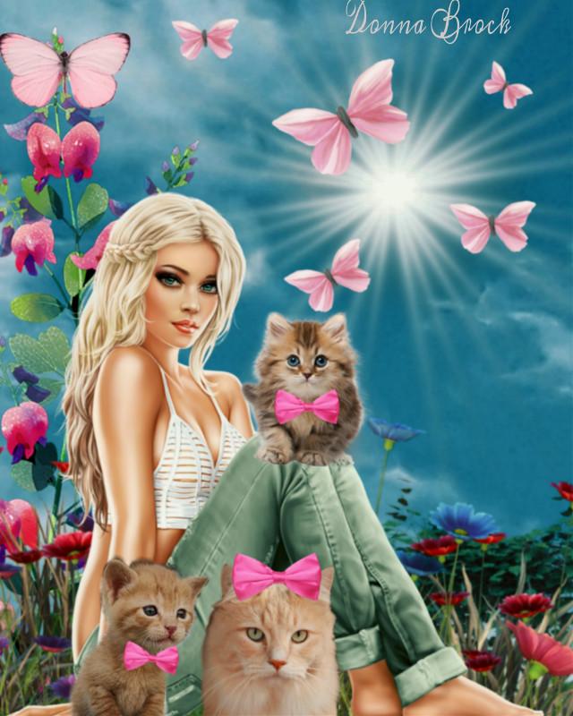 Kitty Love ...@donnabrock7 @skyes_art    #cats #cat #woman #freetoedit. #kittylove  #irckittylove