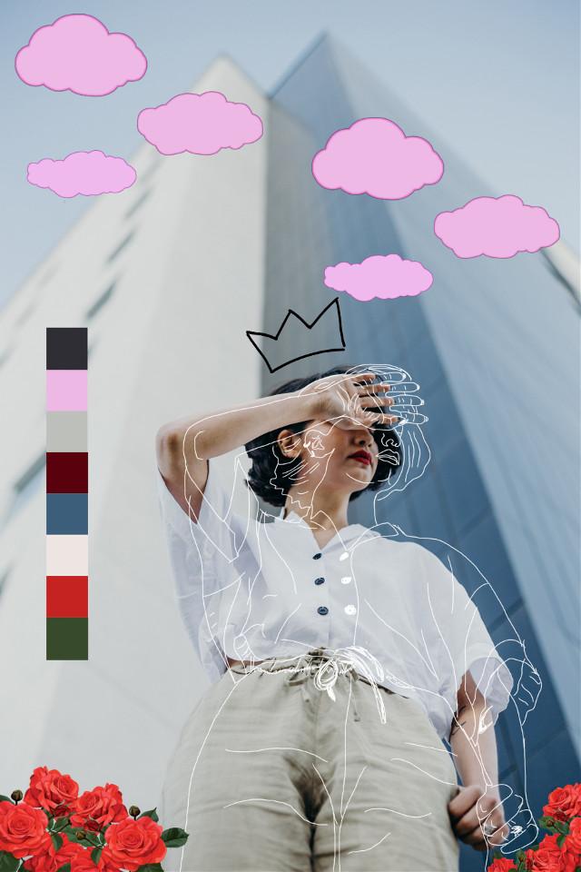 #woman #cloud #shy #l4l #editbyme #vsco #picsart #linedrawing