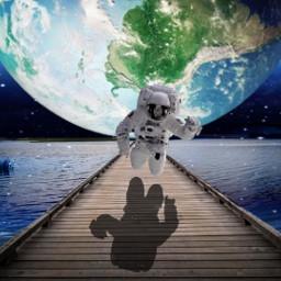 freetoedit walkway spaceman world water ircendlessjourney