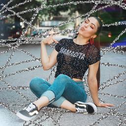 freetoedit sparkles crisscross lines girl