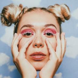freetoedit girl pink eyeshadow portrait