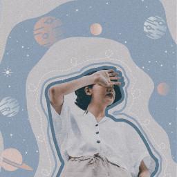 freetoedit girl blue ribbon planets