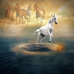 freetoedit horses intheclouds ocean vortex