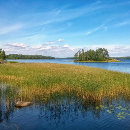 landscape lake panorama summertime nature
