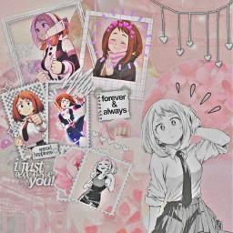 freetoedit myheroacademia urarakaochako ochakouraraka pinkaesthetic