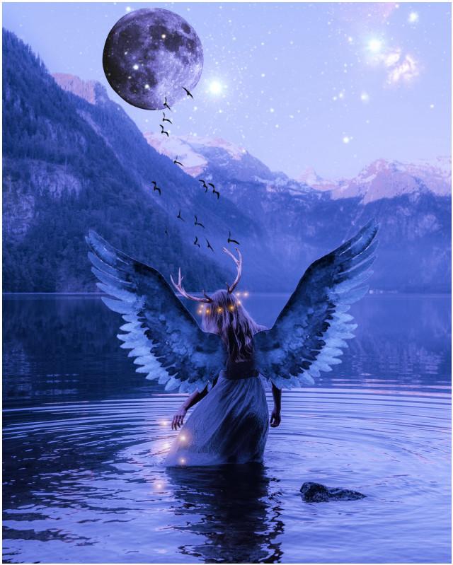 #freetoedit #luna #angel #paisaje #fantasia