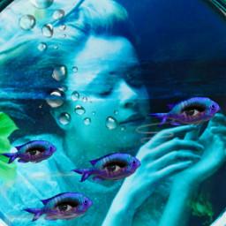 freetoedit woman fish eyes bubbles ircsubmarine