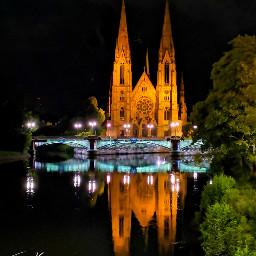 cathedral strasbourg alsace france bridge
