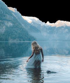 mountain woman lake water freetoedit