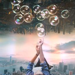 freetoedit woman town bubbles lighteffect