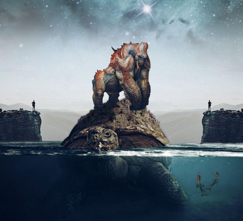 #freetoedit #picsart #remixed #remixit #myedit #photoedit #animal #turtle #gorilla #mermaid #mountain #rock #ocean #sea #water #surrealism #galaxy #stars #picsarteffects