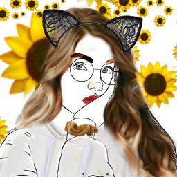 freetoedit girl srcsunflowerselfie sunflowerselfie