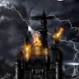 myedit castle lightening oceanwaves fire freetoedit