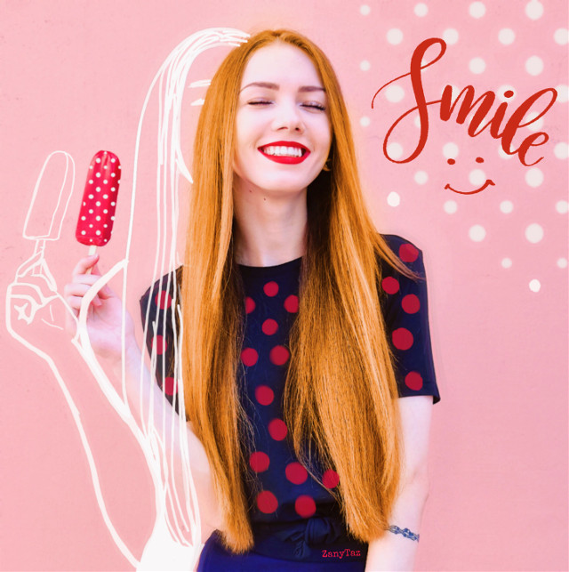 #ircsummersmile #summersmile #smile #polkadots #pink #icepop #sketcheffect #beautyeffect #haircolor #freetoedit