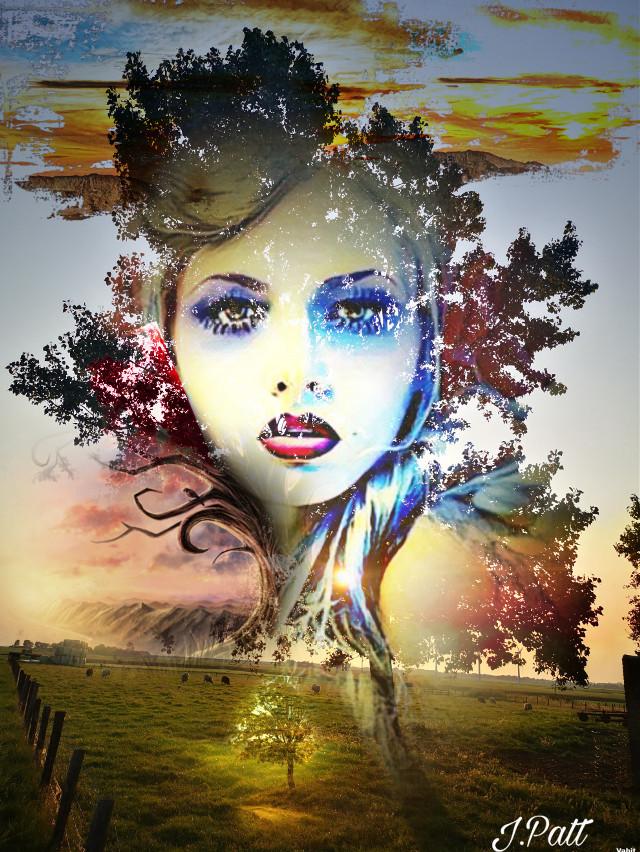 #freetoedit#female#treebranches# sunsetsky#pastures#horizons#colors#myeditoffreetoedit