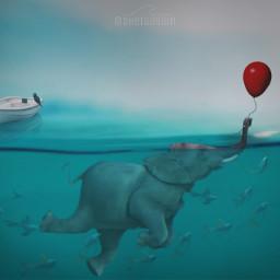 freetoedit float imagination elephant ocean  elephants