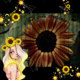 sunflower sun girl ijustlovesunflowers sunflowercrown freetoedit