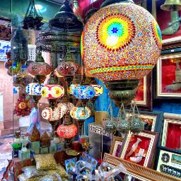 market lamps antiques colourful