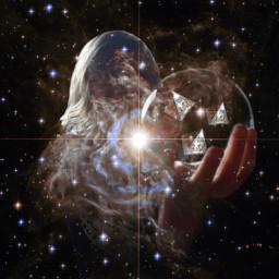 girl bubble outerspace nebula pyramids freetoedit