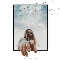 edited photoedit portrait girl clouds birds verucacrews freetoedit