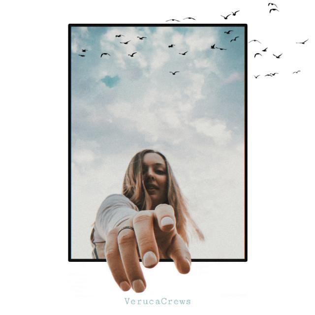 𝚁𝚎𝚊𝚌𝚑𝚒𝚗𝚐 𝚘𝚞𝚝 #edited #photoedit #portrait #girl #clouds #birds #verucacrews    #freetoedit