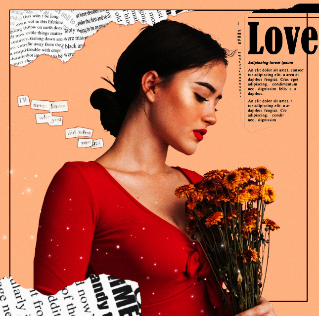 🥀  -discover- #girl #flowers #newspaper #tornpaper #rippedpaper #yellow #red #graphicdesign