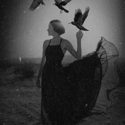 freetoedit blackandwhite woman people raven