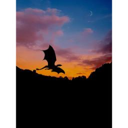 freetoedit dragon sunset moon
