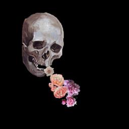 freetoedit halloween skull flowers