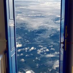 freetoedit doubleexposure doorway airplaneview sky