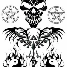 freetoedit skull pentagram yingyang tattoo