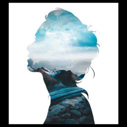 freetoedit woman doubleexpesure blue