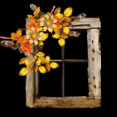 ftestickers window windowpane wooden fallleaves freetoedit