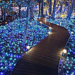 freetoedit blue sparkle night walkway