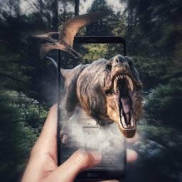 freetoedit dinosaur screen holdphone snapseed