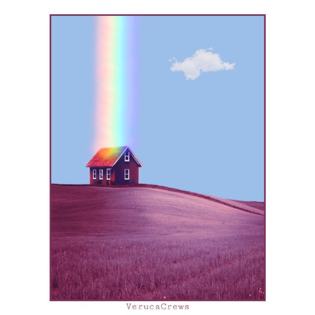 #edited #art #landscape #house #singlehouse #nature #cloud #rainbow #fantasy #verucacrews