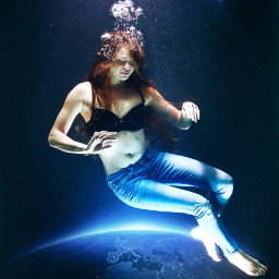 freetoedit outerspace underwater girl doubleexposure
