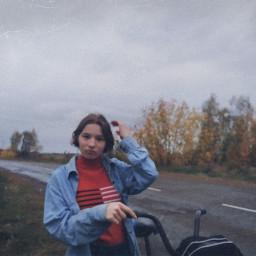 retro esthetic forestroad rain oldphoto cutegirl jeansjacket kawaii bicycleride road sweater