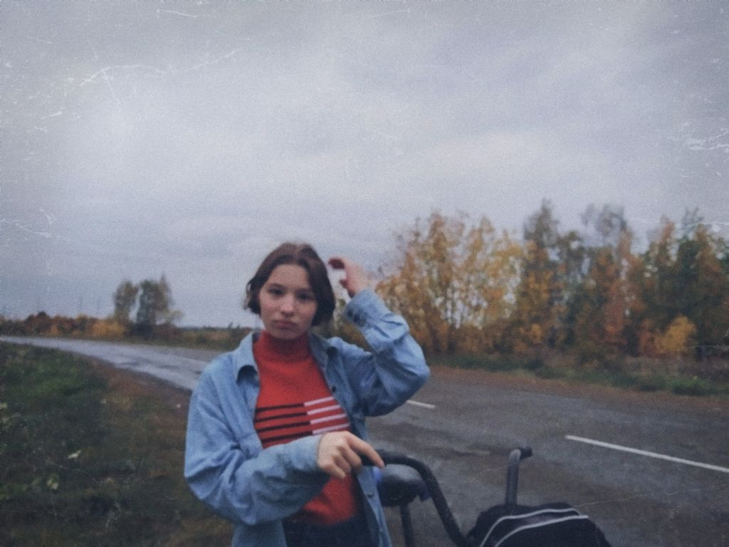 #retro #esthetic #forestroad #rain #oldphoto #cutegirl #jeansjacket #kawaii #bicycleride  #road  #sweater
