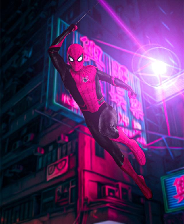 Spider-Man 🕸️ . . #spiderman #spidermanhomecoming #purple #night #marvel #avengers #sony #spiderverse