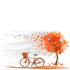 ftestickers bycycle tree wind autumn freetoedit
