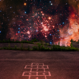 outerspace hopscotch doubleexposure surreal freetoedit