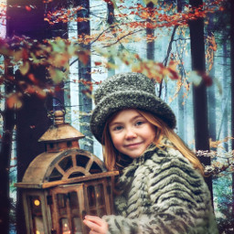 freetoedit girl forest autumn lighteffect