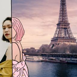 Paris art faceart photography doodle freetoedit