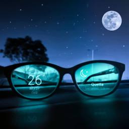 fantasy glasses night surrealart stars