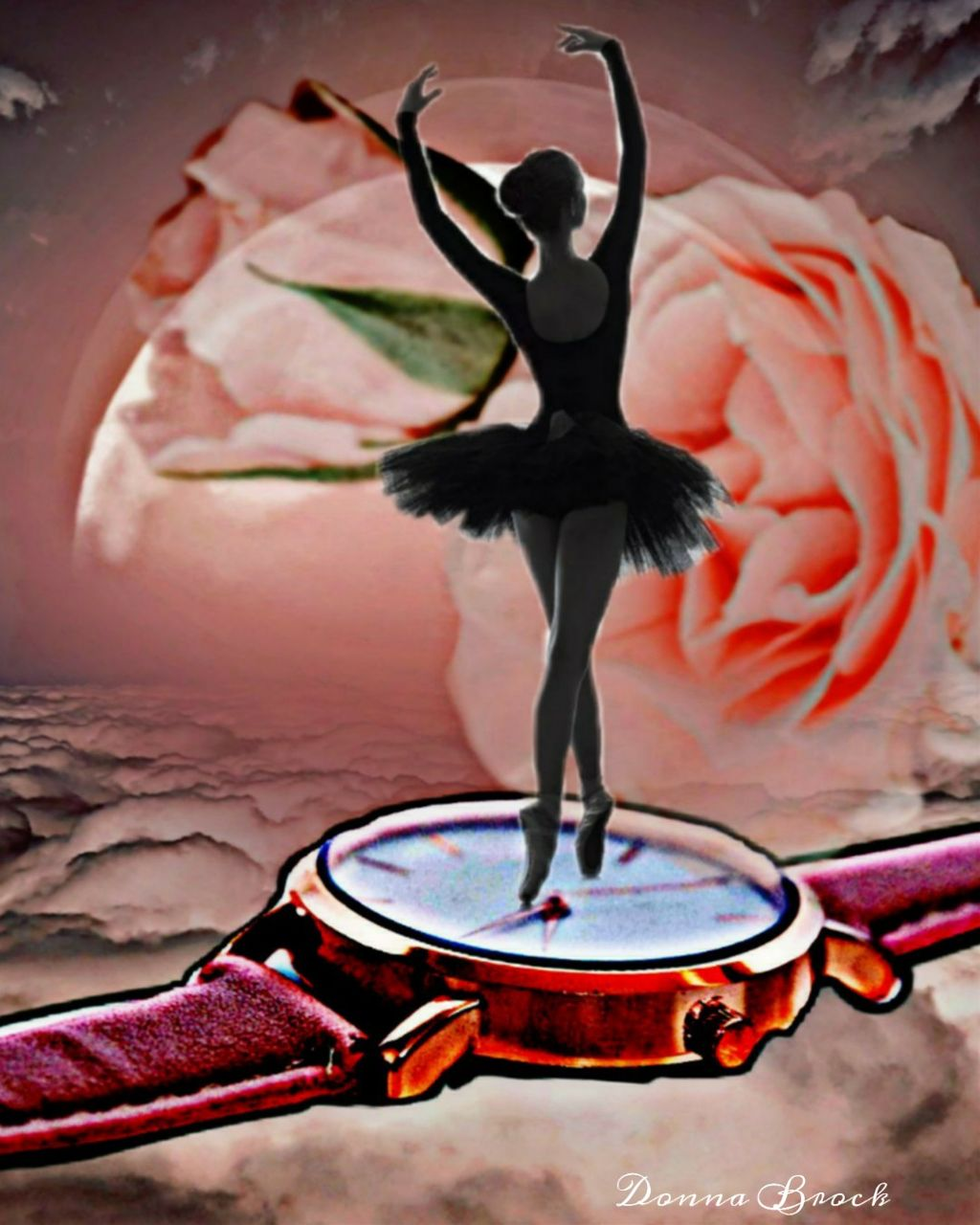 I'M A LITTLE BALLERINA ...  Pink Remix Challenge ... number  42  #pinkremix #ballet  #freetoedit. #ballerina #watch #roses #rose  #ircpinkremix