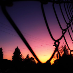 sunset hdr2 chainlink fence silhouette freetoedit