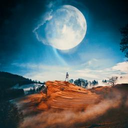 freetoedit moon man standing cliff