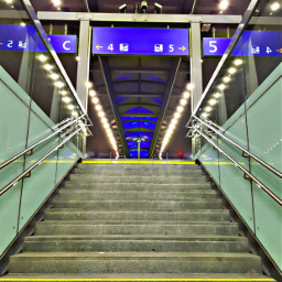 trainstation stairway lights colours
