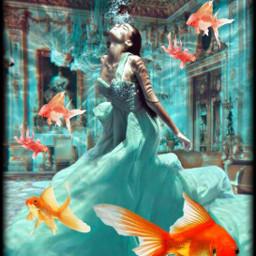 freetoedit woman fish srcunderwater underwater